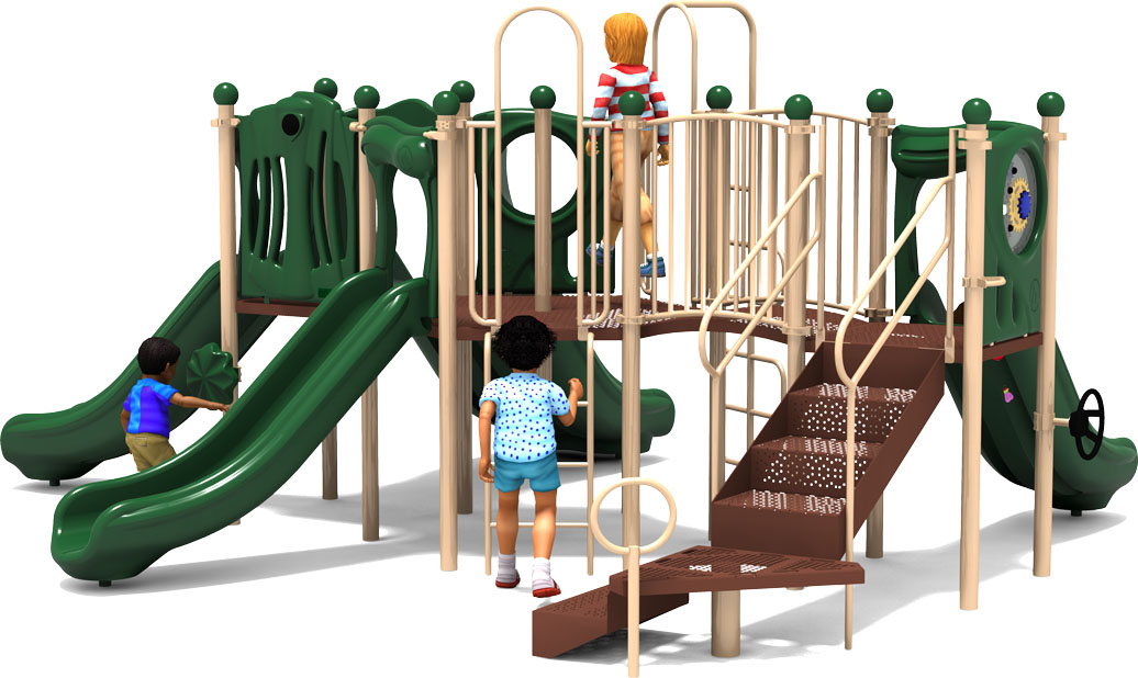 Peek A Boo - Commercial Play Structure - Natural Color Scheme - Back View