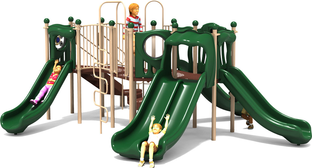 Peek A Boo - Commercial Play Structure - Natural Color Scheme - Front View