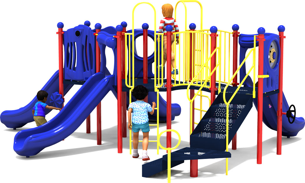 Peek A Boo - Commercial Play Structure - Primary Color Scheme - Back View