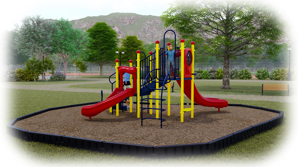 Jumping Jack Playground Bundle - Primary Colors - Engineered Wood Fiber