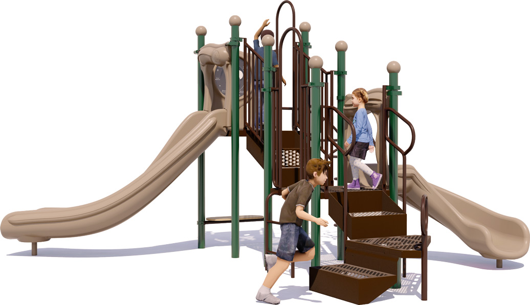 Jumping Jack Play Structure - Natural Colors - Back View