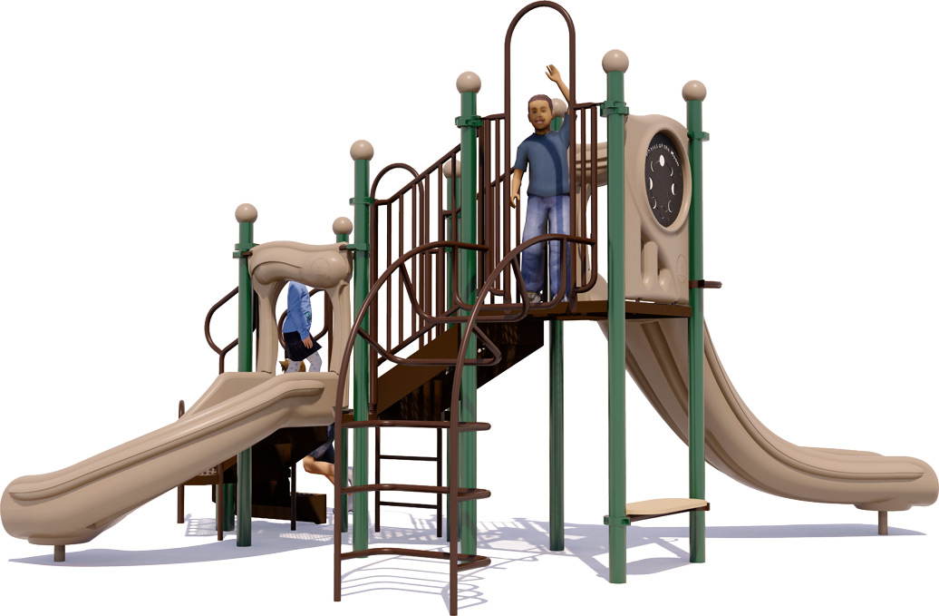 Jumping Jack Play Structure - Natural Colors - Front View