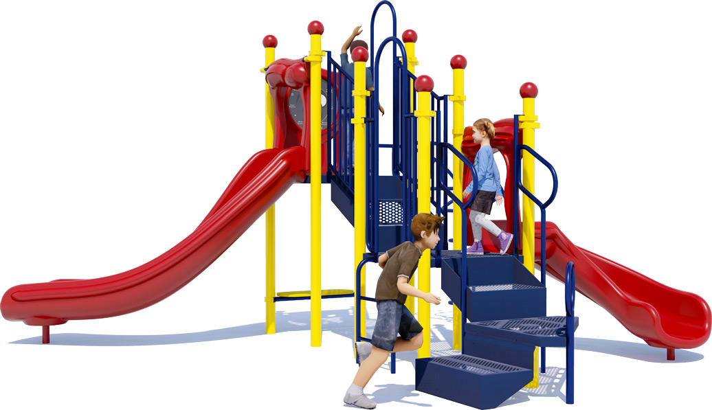 Jumping Jack Play Structure - Primary Colors - Back View