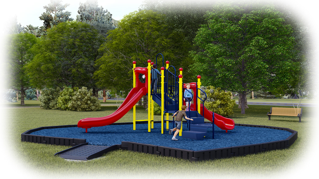 Jumping Jack Playground Bundle - Primary Colors - Rubber Mulch