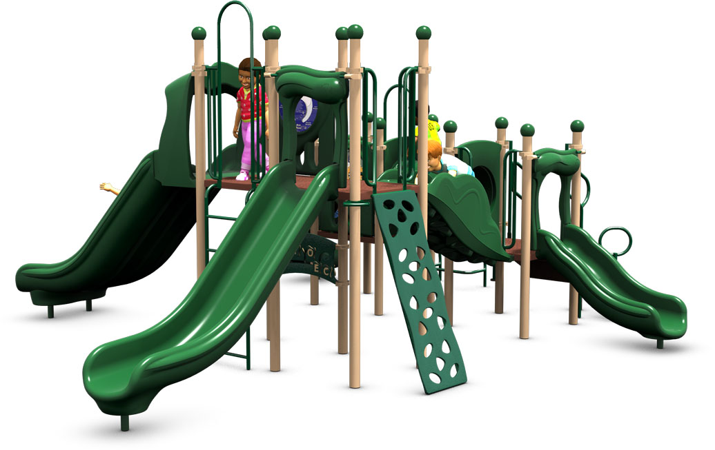 Monkey Business Commercial Play Structure - Natural Color Scheme - Front View