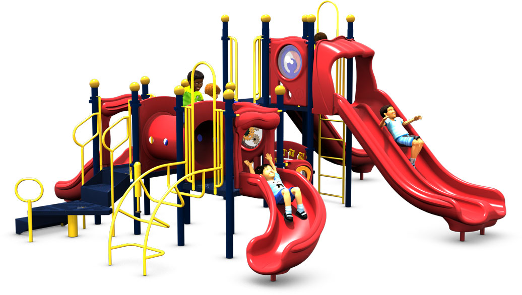 Monkey Business Commercial Play Structure - Primary Color Scheme - Back View