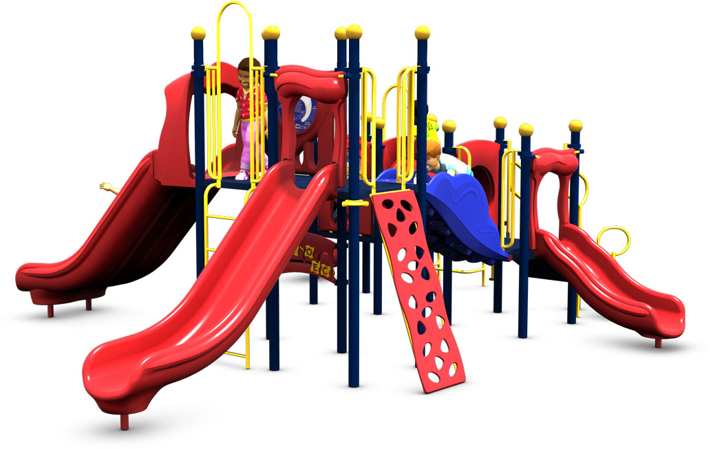 Monkey Business Commercial Play Structure - Primary Color Scheme - Front View