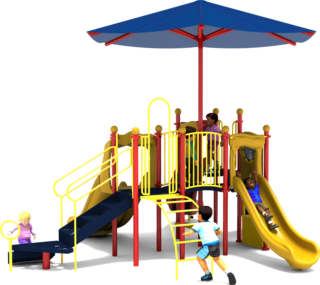 Jamboree - Commercial Play Structure - Primary Color Scheme - Back View