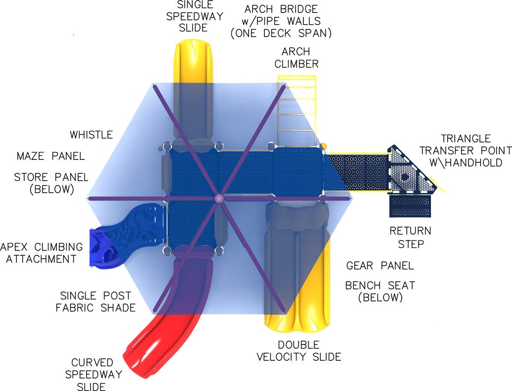 Jamboree - Commercial Play Structure - Primary Color Scheme - Top View
