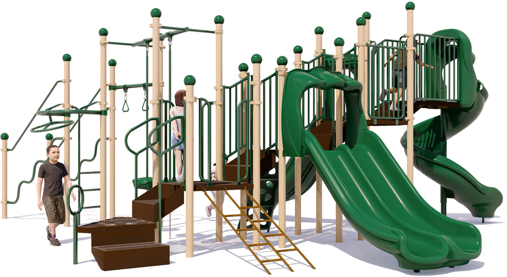 Fun 'n Fit - Natural Colors - Rear View - Commercial Playground Structure