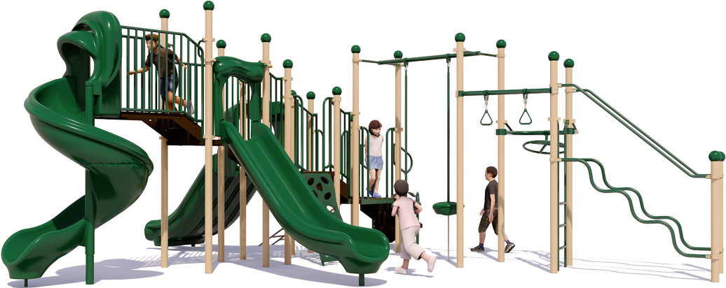 Fun 'n Fit - Natural Colors - Front View - Commercial Playground Structure