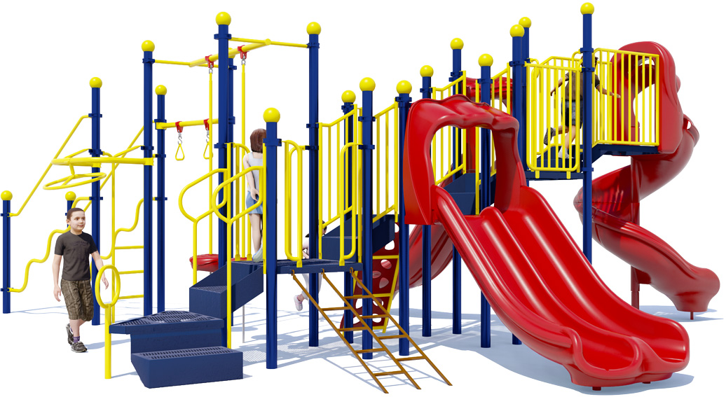 Fun 'n Fit - Primary Colors - Back View - Commercial Playground Structure
