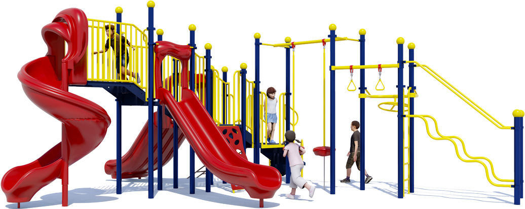 Fun 'n Fit - Primary Colors - Front View - Commercial Playground Structure