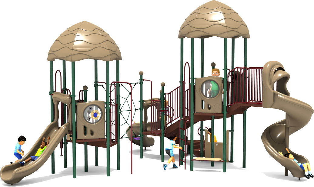 Round Robin - Commercial Play Structure - Natural Color Scheme - Back