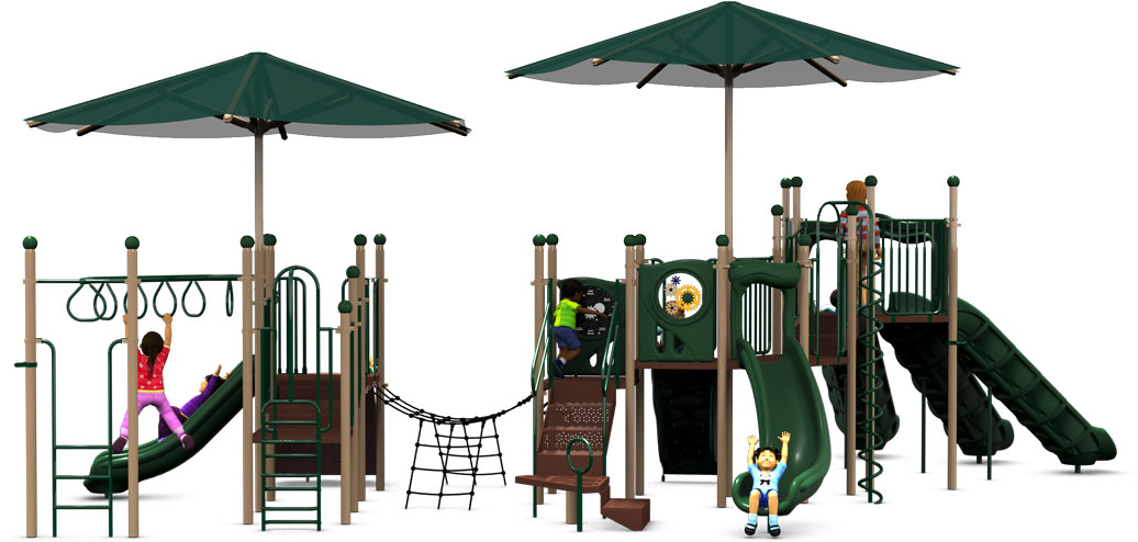 Super Shade - Commercial Play Structure - Natural Color Scheme - Back View