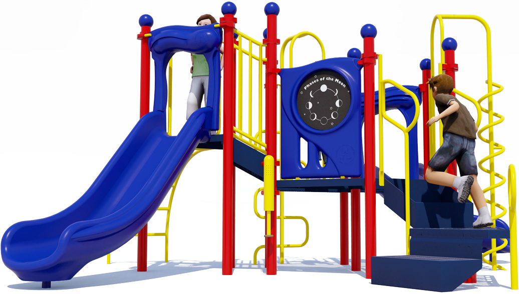 Game On Play Structure - Primary Color Scheme - Back View