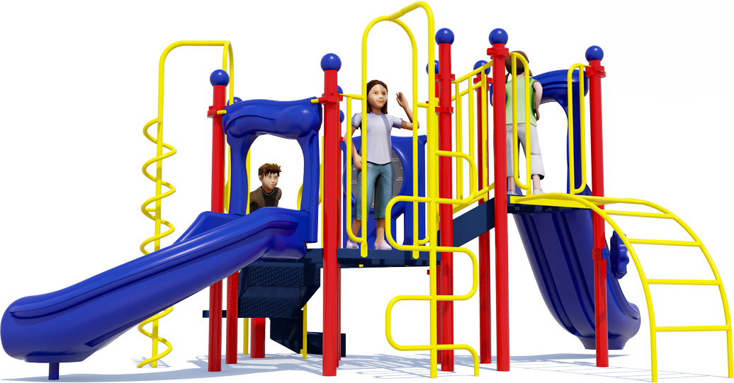 Game On Play Structure - Primary Color Scheme - Front View