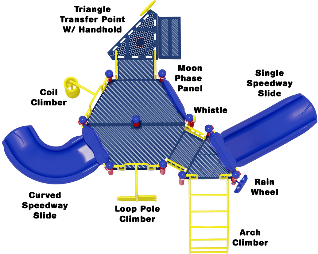 Game On Play Structure - Primary Color Scheme - Top View