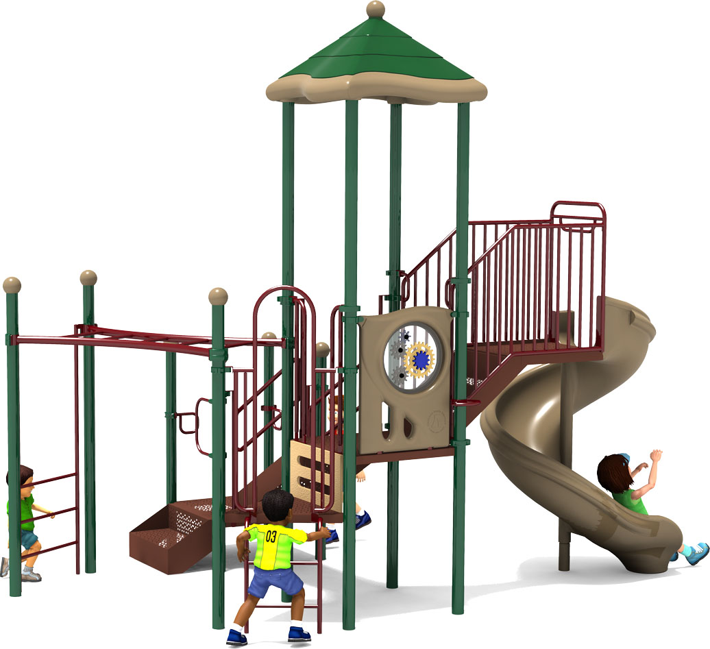Happy Trails - Commercial Playground Equipment - Natural Colors - Front View