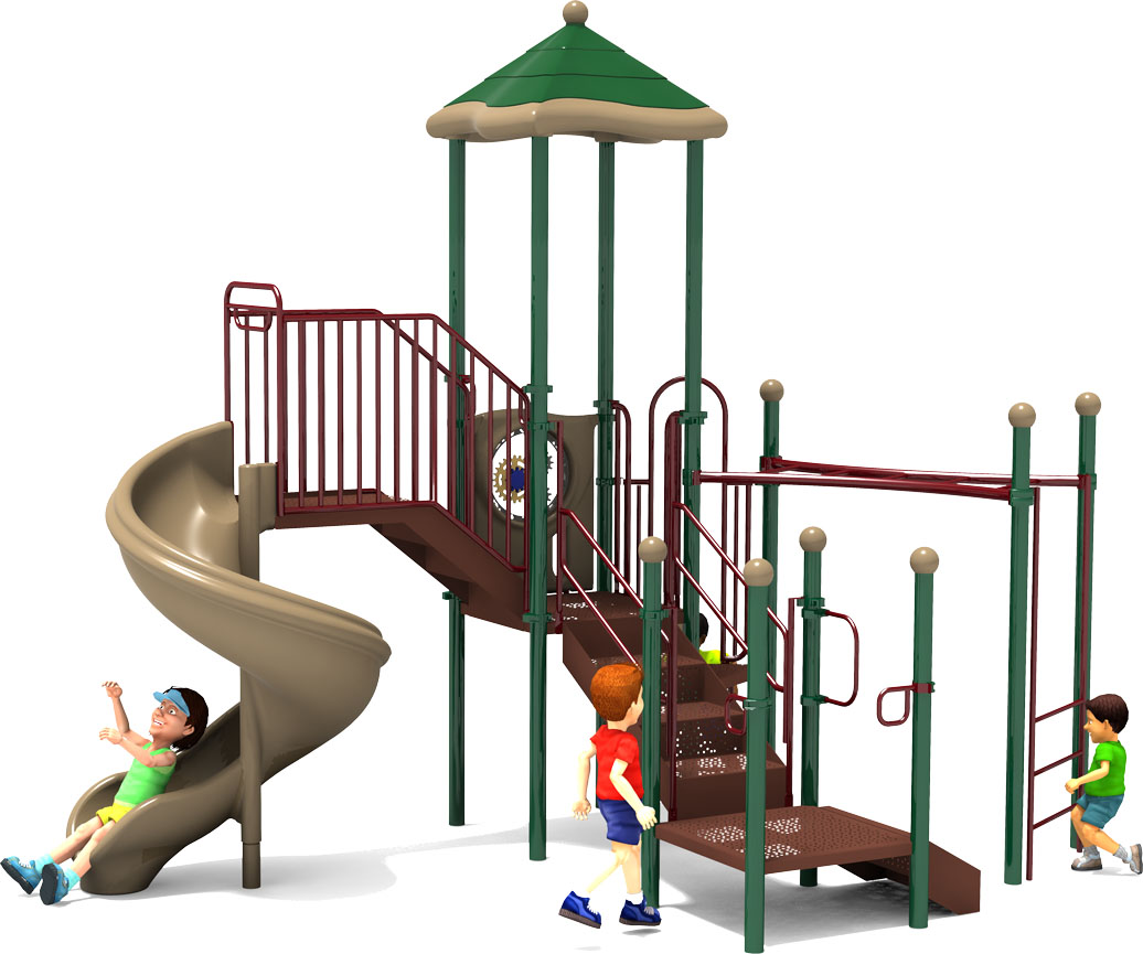 Happy Trails - Commercial Playground Equipment - Natural Colors - Back View