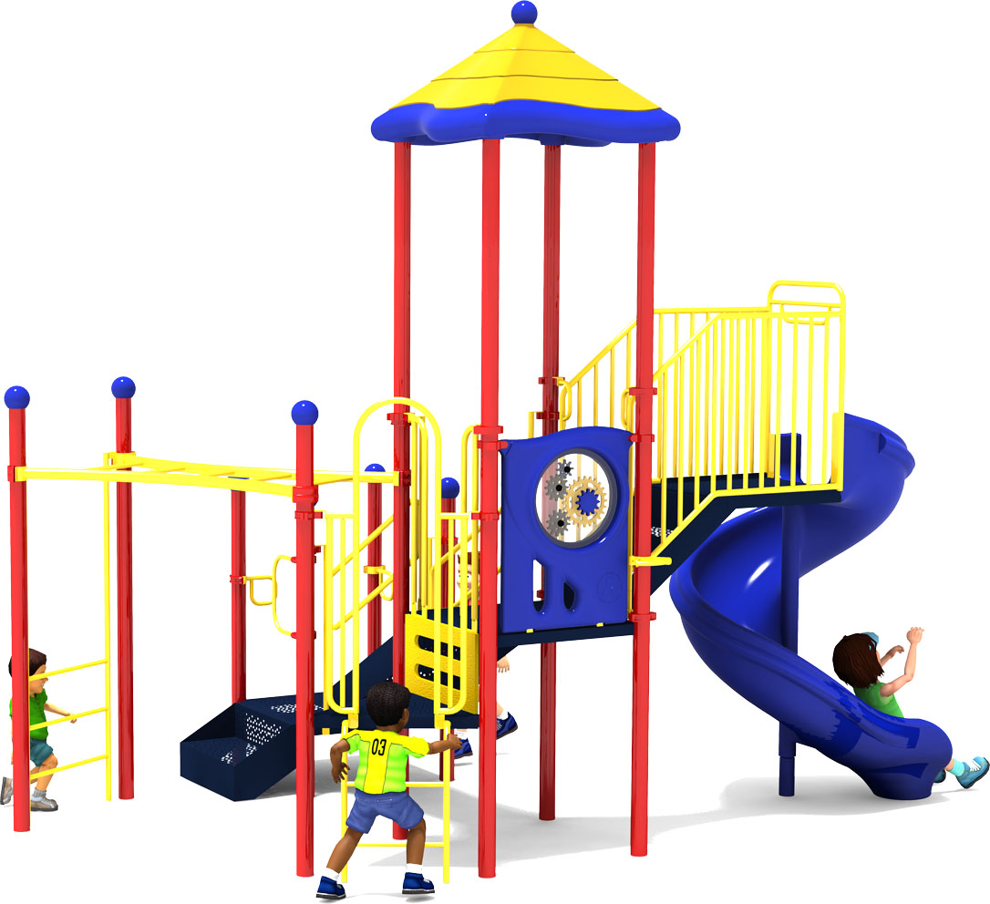 Happy Trails - Commercial Playground Equipment - Primary Colors - Back View
