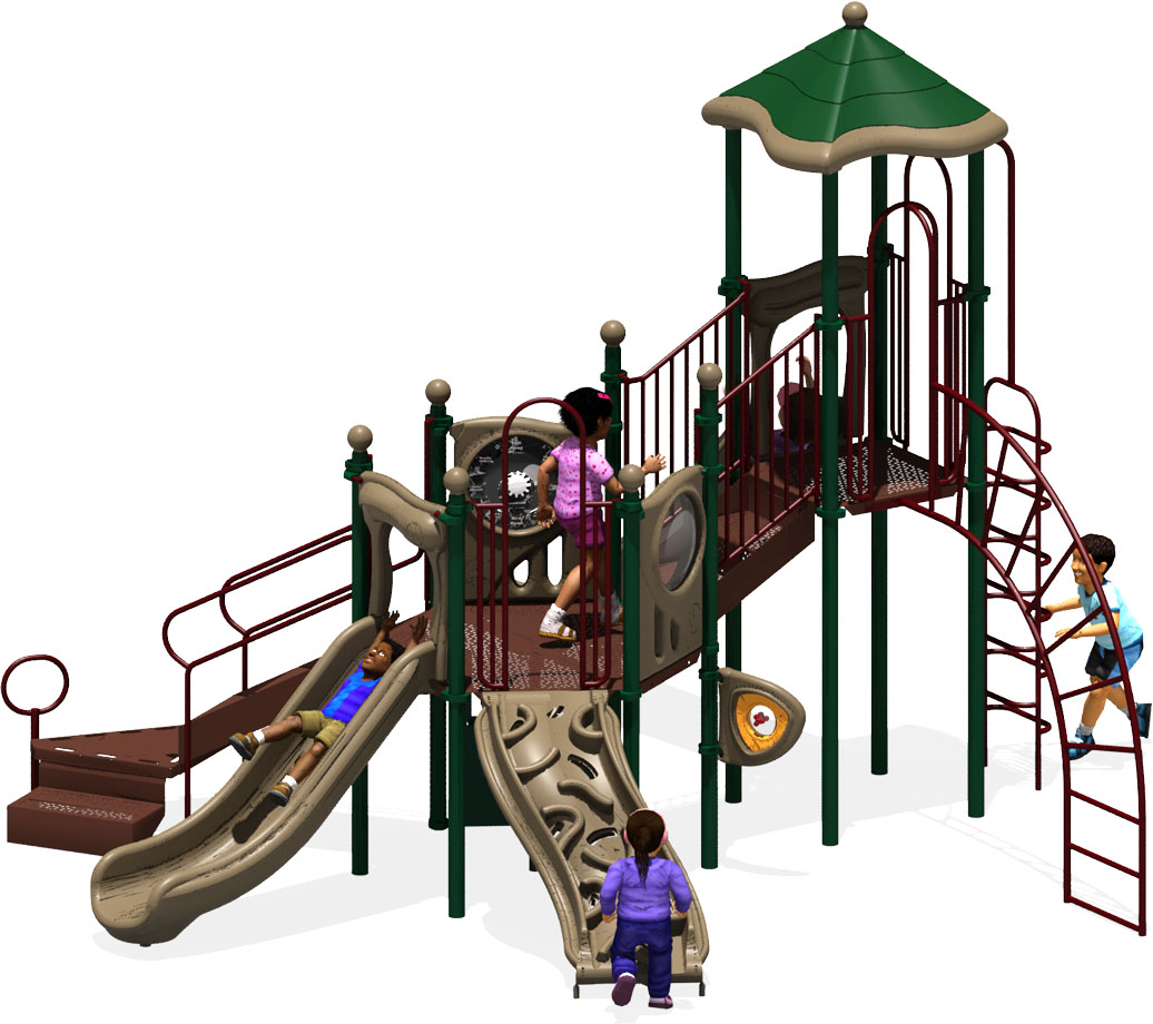 Central Station Play Structure - Natural Color Scheme - Front View