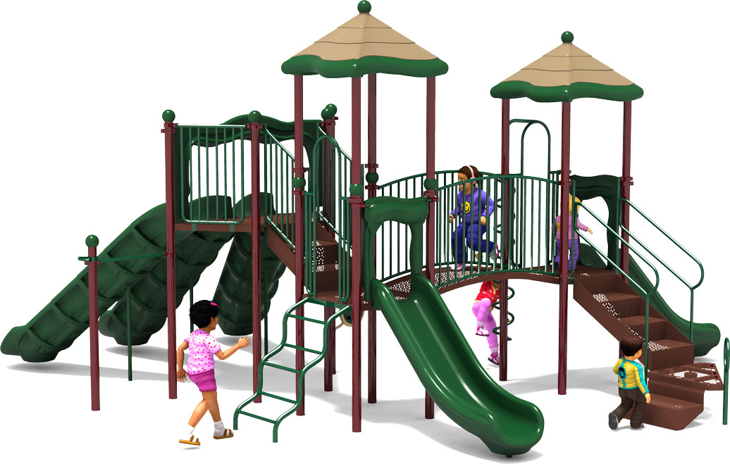 Triple Double - Commercial Playground Equipment - Natural Color Scheme - Back