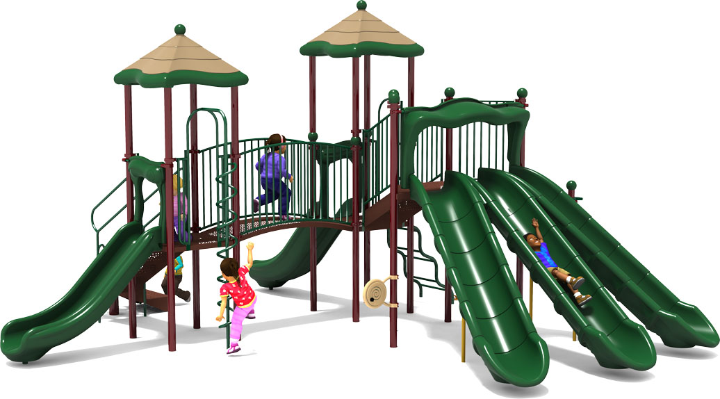 Triple Double - Commercial Playground Equipment - Natural Color Scheme - Front