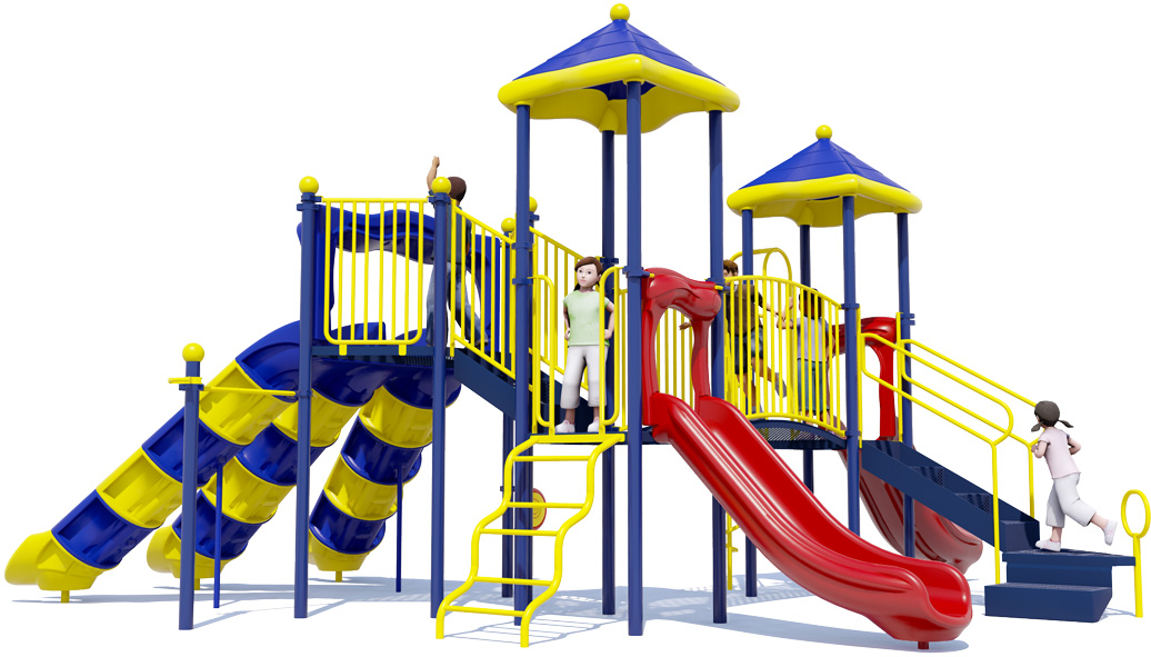 Triple Double - Commercial Playground Equipment - Primary Color Scheme - Back