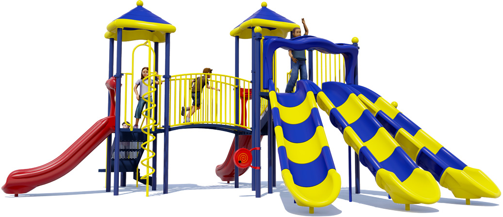 Triple Double - Commercial Playground Equipment - Primary Color Scheme - Front