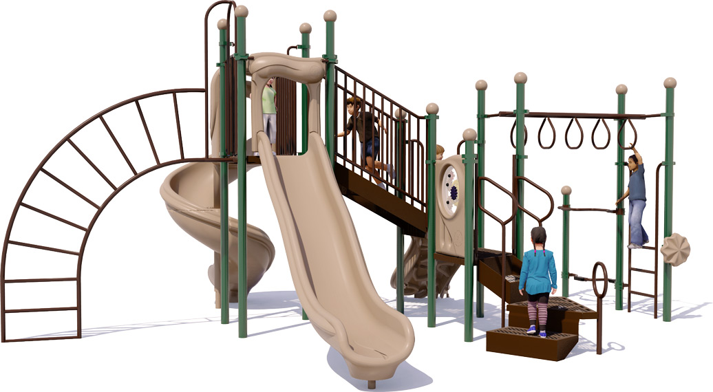 Open Range Play Structure - Natural Color Scheme - Rear View