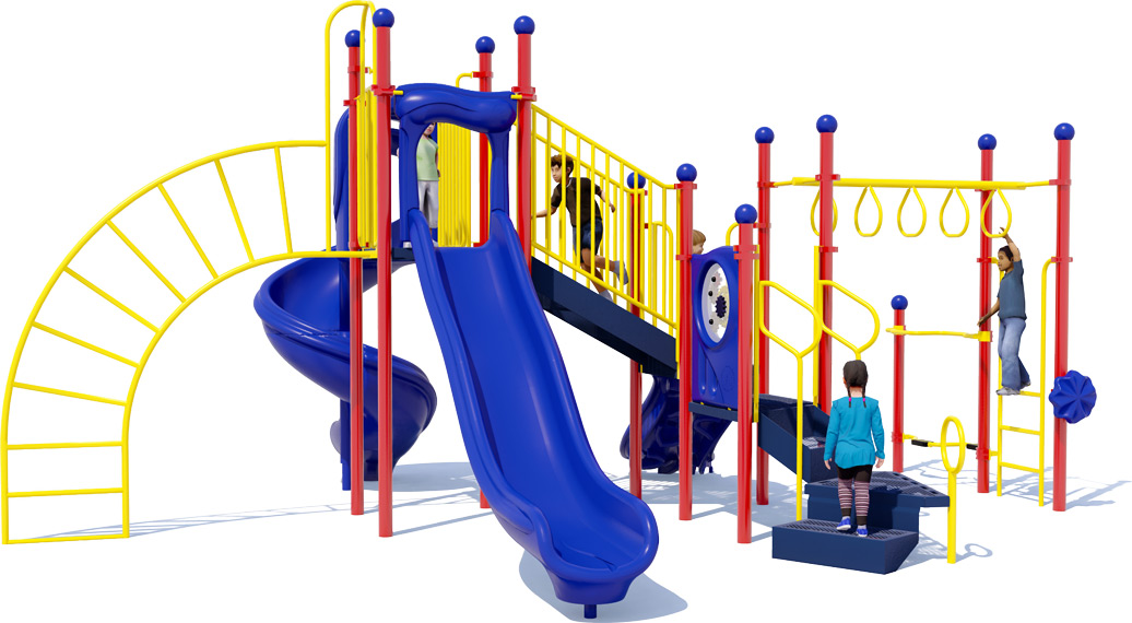 Open Range Play Structure - Primary Color Scheme - Rear View