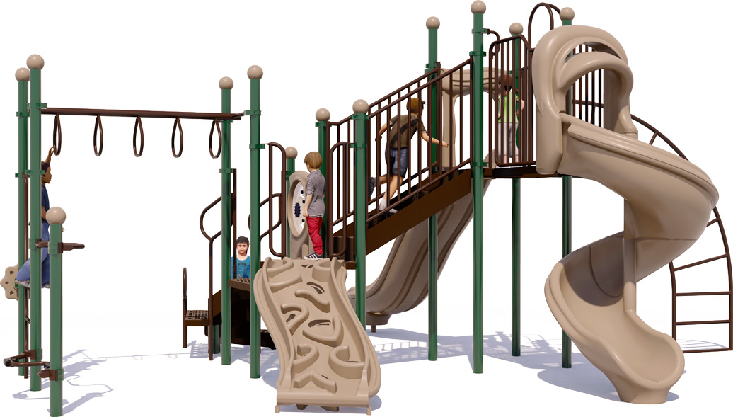 Open Range Play Structure - Natural Color Scheme - Front View