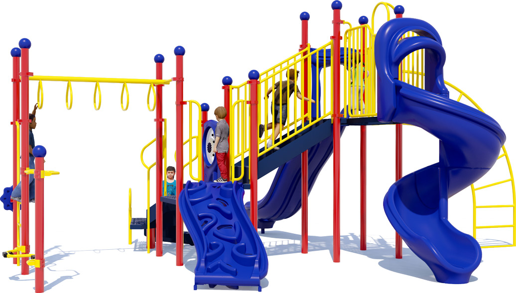 Open Range Play Structure - Primary Color Scheme - Front View