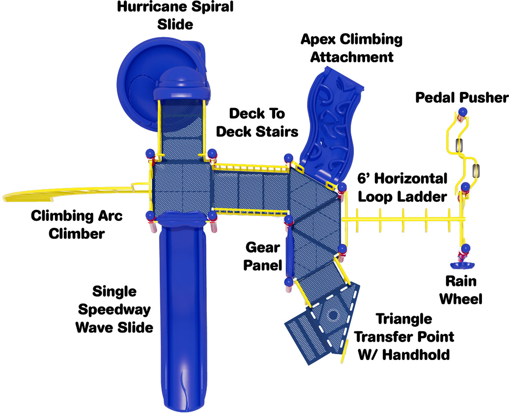 Open Range Play Structure - Primary Color Scheme - Top View