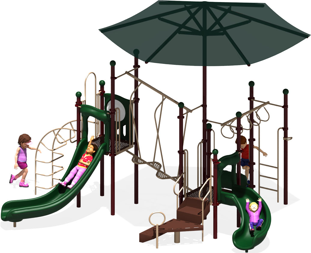 Wiggle Worm - Commercial Play Structure - Natural Color Scheme - Front View