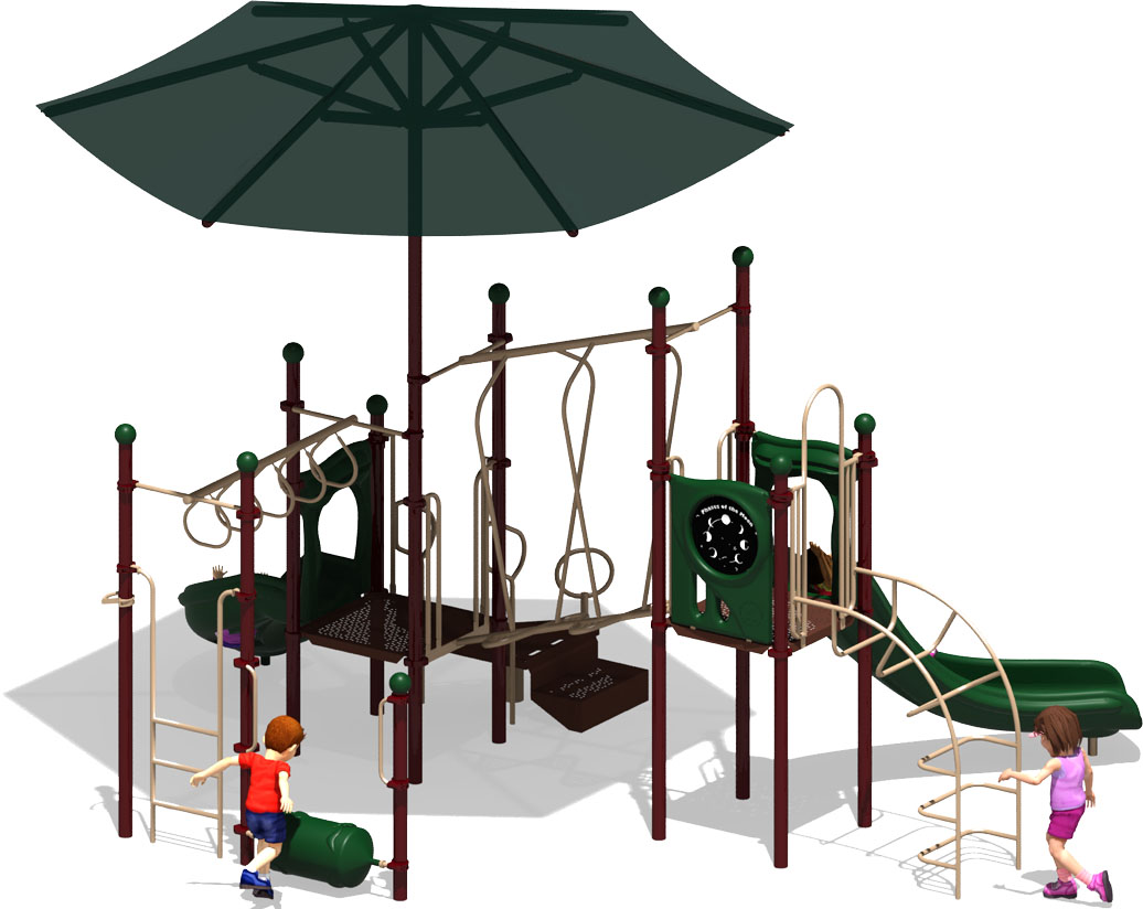 Wiggle Worm - Commercial Play Structure - Natural Color Scheme - Back View