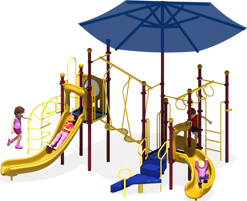 Wiggle Worm - Commercial Play Structure - Primary Color Scheme - Front View