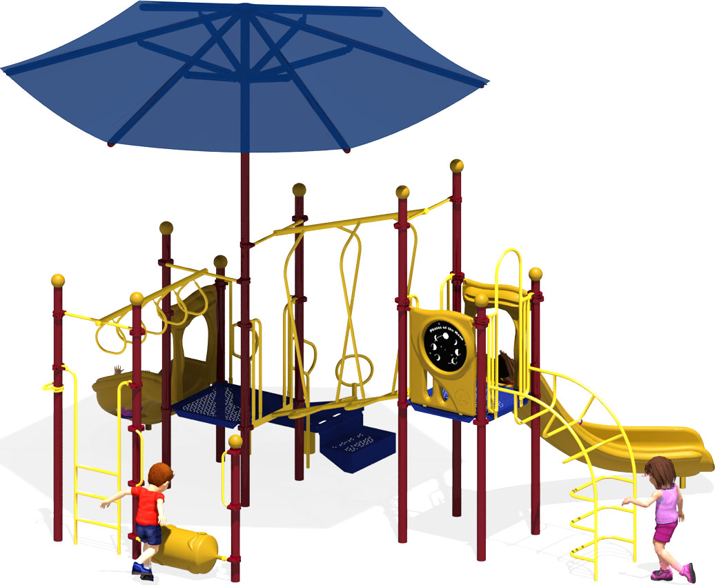 Wiggle Worm - Commercial Play Structure - Primary Color Scheme - Back View
