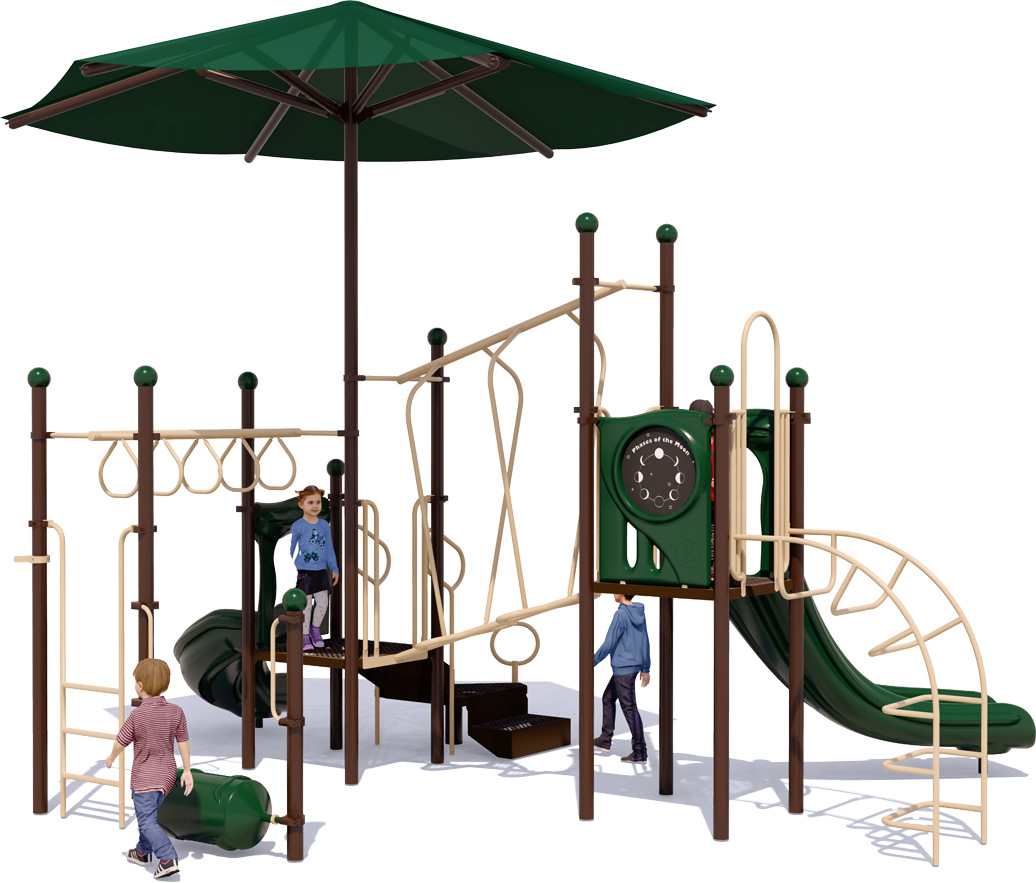 Wiggle Worm Play Structure - Natural Colors - Rear View