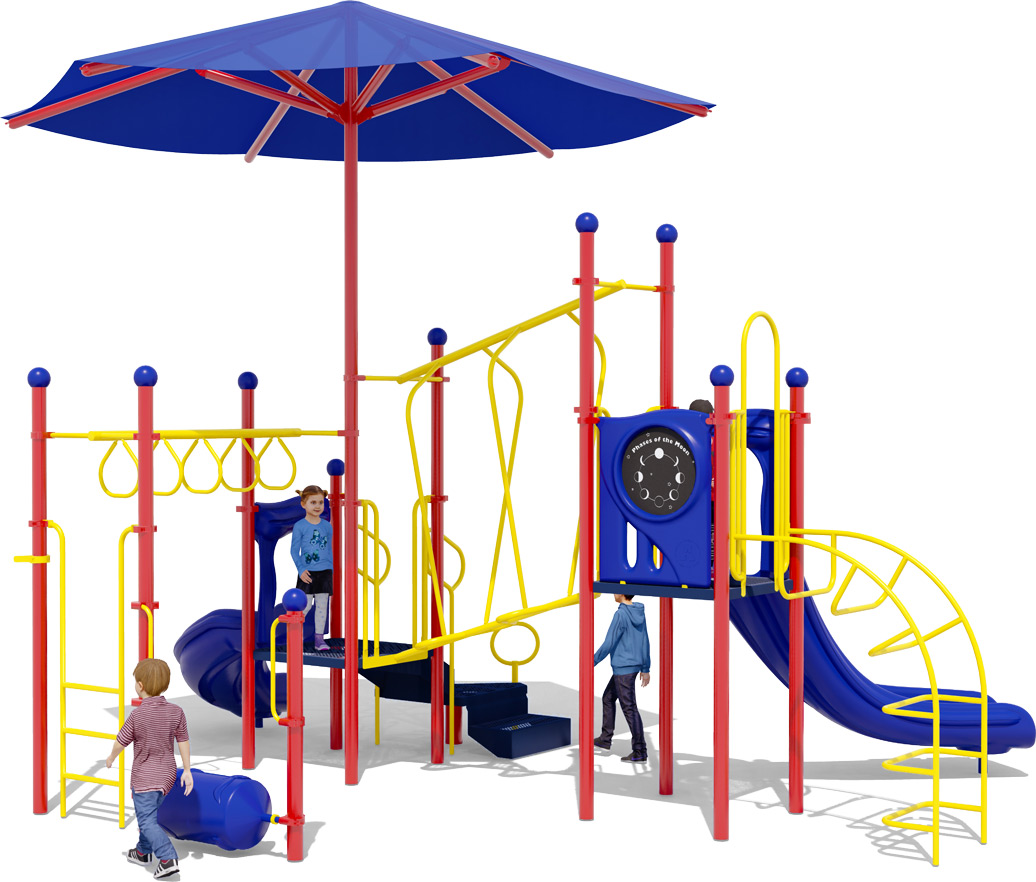 Wiggle Worm Play Structure - Primary Colors - Rear View