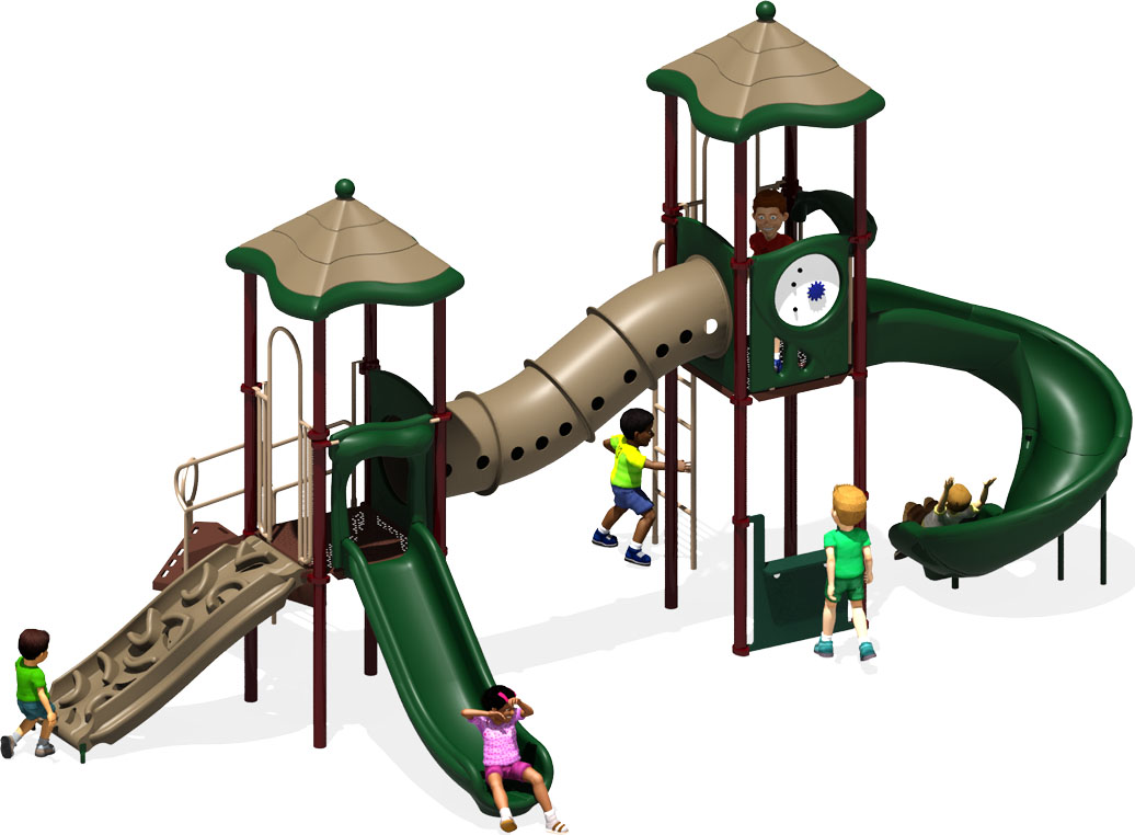 The Metro Commercial Play Structure - Front View - Natural Color Scheme