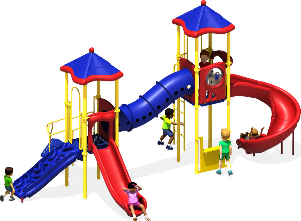 The Metro Commercial Play Structure - Front View - Primary Color Scheme