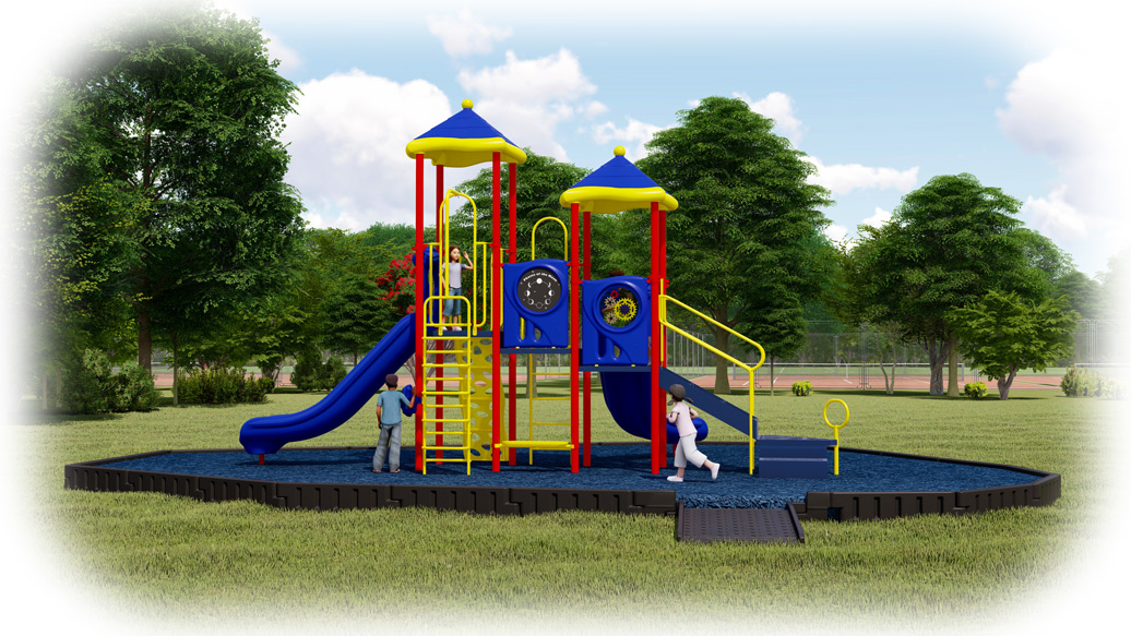 Head Start Playground Bundle - Primary Colors - Rubber Mulch