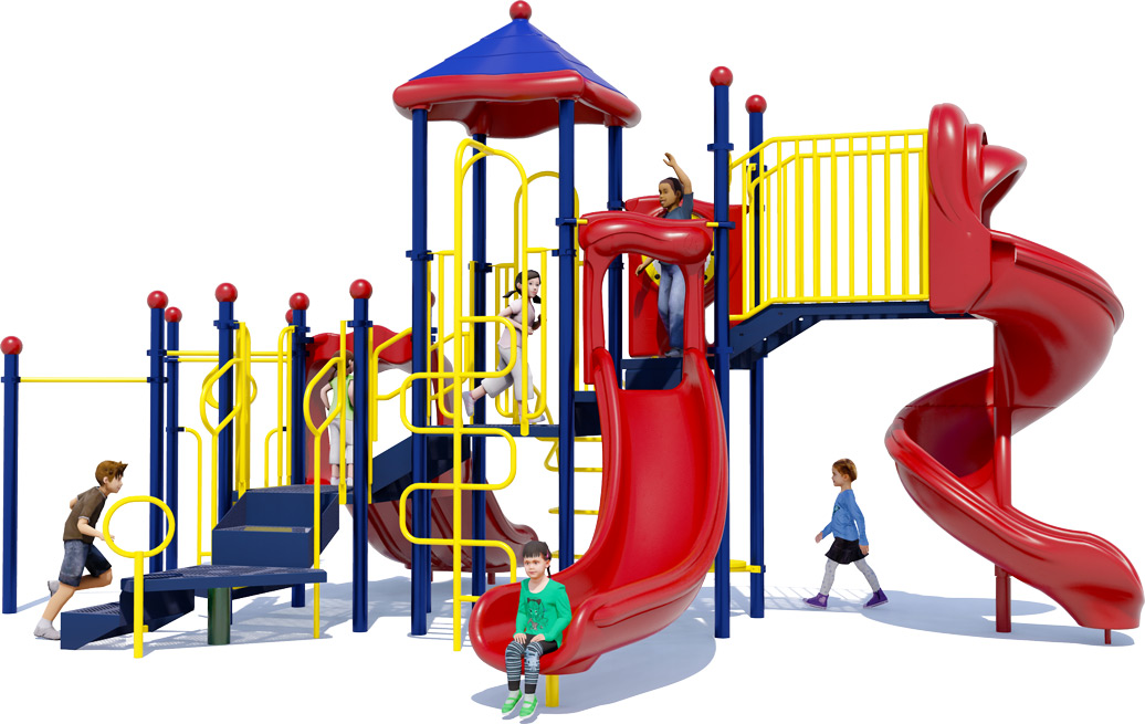 Goodtimes Play Structure - Primary Color Scheme - Back View