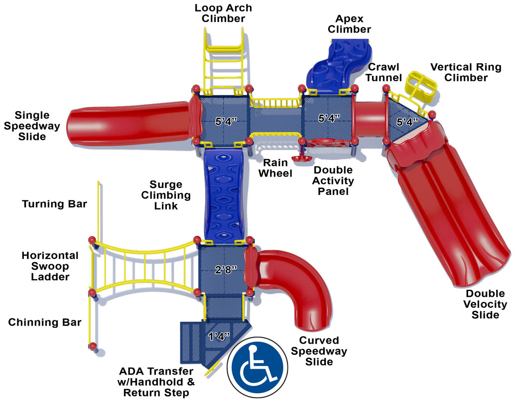 Cheer Delight - Top View - Primary Colors - Play Structure