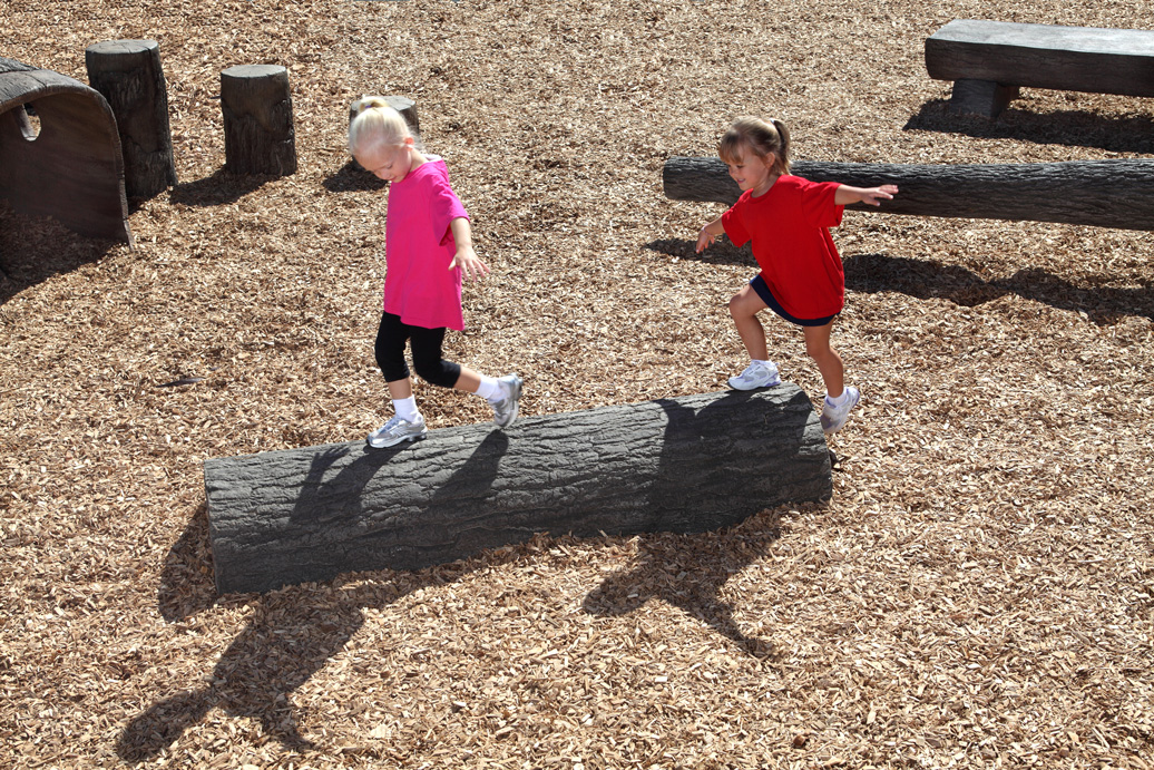 4' half log balance beam - commercial playground equipment