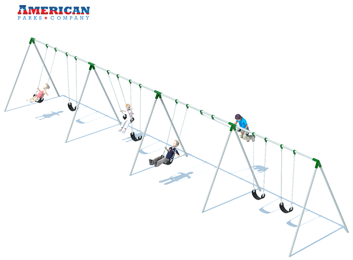 4 Bay Bi-pod Swing Set | Playground Equipment | American Parks Company