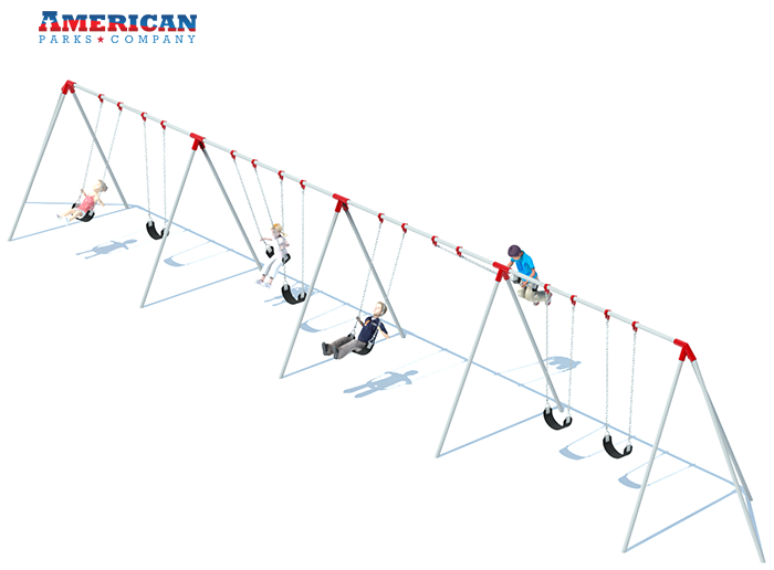 4 Bay Tri-pod Swing Set | Commercial Playground Equipment