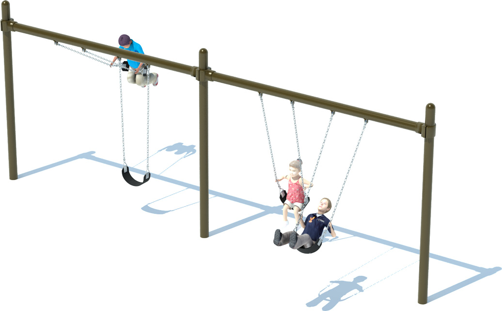 2 Bay Single Post Swing Frame - Commercial Playground Equipment